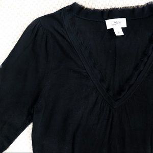 Loft black v-neck sweater with frilly neck detail